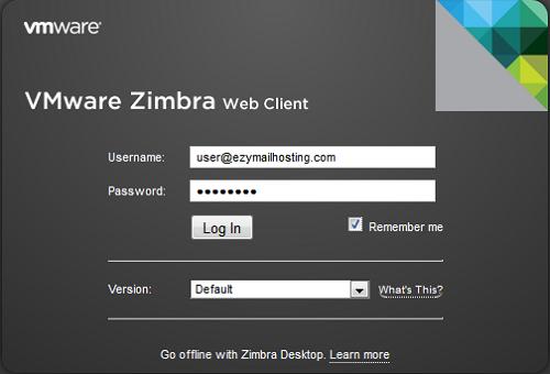 zimbra login page