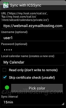 Calendar sync - ICSsync for Android