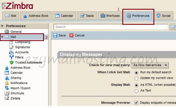 How to setting pop-up email notification in Zimbra - Ezy Mail Hosting