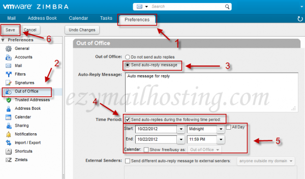 Zimbra out of office feature