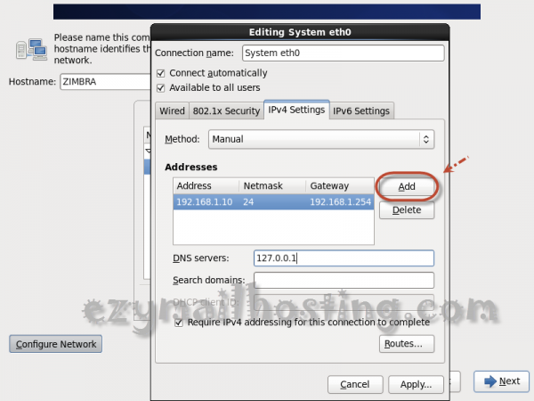 how to change server ip centos