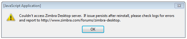 Can not access zimbra desktop server